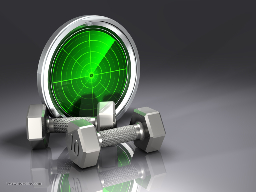 3d illustration of two large dumbbells lying in front of an upright green radar screen over a dark gray reflective surface