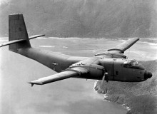 A C-7 Caribou aircraft, transferred from the U.S. Army to the Air Force on Jan. 1, is used for airlifting supplies to forward outposts in Vietnam.  With a maximum payload of three tons, the C-7A can take off and clear a 50-foot obstacle in about 1,200 feet.  The aircraft, used for landing at short, unimproved airfields, can land on a 1,000-foot runway.